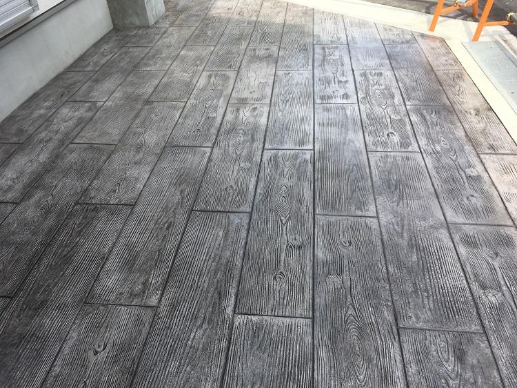 枕木 スタンプコンクリート 施工