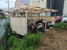 自転車置き場 屋根の復旧